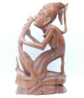 """Vintage Hand Caved Wood Statue Man Playing Instrument Bali 12""""H Art"""