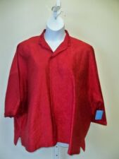 Planet Clothing Crushed Silk Shirt Jacket  NWT  Red   One Size Plus
