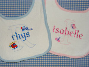 Personalised Large Baby Bib matching items available any name boy or girl design