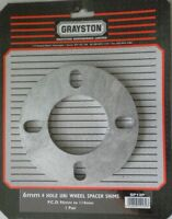 GRAYSTON PACK OF 2 UNIVERSAL WHEEL SPACERS SHIMS 6mm 4 STUD PCD 95-114mm PAIR