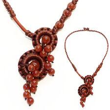 Collier - Cascade macramé de satin et perles Marron - idée cadeau très élégant