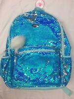 "NWT Justice Girl Blue Flip Sequins Backpack 15"" Pompom Keychain Child"