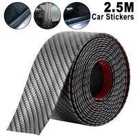 5cmx2.5m Car Trim Bumper Sticker Door Sill Protector Carbon Fiber Rubber Strip
