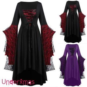 Women Renaissance Medieval Victorian Long Dress Costume Gothic Witch Fancy Dress