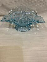 "Moon and Stars Vintage Smith Clear Blue Glass Basket 9"" Long No Handle Marked S"