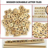 200 Wooden Tiles Scrabble Black Wood Letters For Crafts Alphabets & Numbers Game