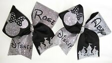 Personalized Custom Disney Minnie Mouse Cheer Hair Bow Glitter Name Year