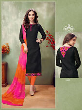 Designer Churidar Black Salwar Kameez Suit Cotton Dress Material Embroidery AY03