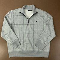 Nautica Mens Size XL Gray Windowpane Checks 1/2 Zip Pullover