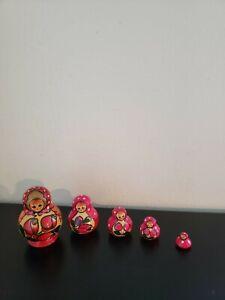 Russian Matryoshka Babushka Nesting Dolls Wooden Hand Painted 5 Pieces