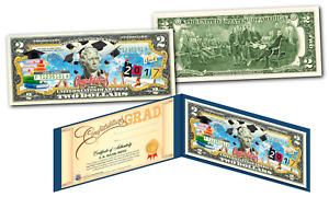 2020 HAPPY GRADUATION Genuine U.S. $2 Bill w/ Diploma Style Fill-In Certificate