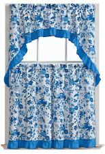 Blue Floral Complete 3 Pc. Cottage Tier & Swag Kitchen Curtain Set