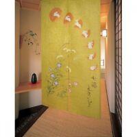 Noren Japanese curtain Tsuki Usagi Moon Rabbit Yellow 150x85cm Made in japan