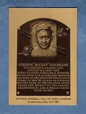 Mickey Cochrane, A's-Athletics/Tigers Hall of Fame Metal plaque-card(1 of 1,000)