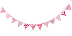 3M Lovely Floral Cotton Fabic Buntings 12 Flags Double Sided Party Banner - PINK