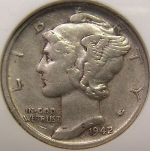 OLD SILVER COIN OF UNITED STATES OF AMERICA 1942 MERCURY DIME WORLD WAR II