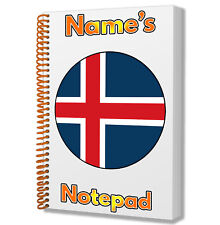 Iceland Icelandic Flag Personalised - A5 Notepad Notebook Gift - Any Name