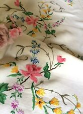 More details for stunning vintage hand embroidered linen tablecloth raised roses freesia florals