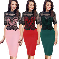 Women Lady Floral Lace Sleeveless Slim Bodycon Cocktail Party Evening Midi Dress