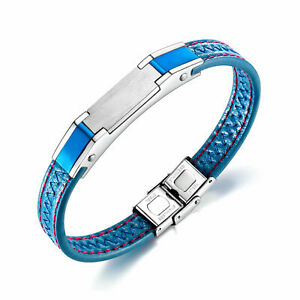 """Leather Stainless Steel Bracelet Men's Blue Wristband Fashion Jewelry Gift 8.5""""."""