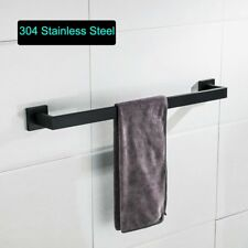 Black Square Stainless Steel Bathroom Single Towel Bar Rail Rack Holder Hanger