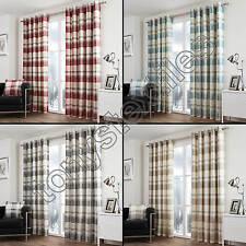 Cotton Blend Checked Curtains & Pelmets