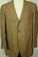 Gorgeous $1495 Edwin Nazario 100% Linen Brown Striped Sport Coat 44L Italy
