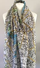 LONDON TRAVEL MAP QUIRKY CREAM GREEN BLUE SCARF CHRISTMAS GIFT NEW FRIEND MUM
