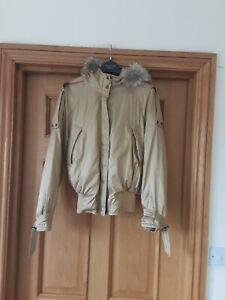 Bnwt Designer Gil Bret Gold Padded Faux Fur Hood Bomber Style Jacket 14 Rrp £238
