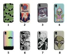 Alien Phone Case Cover Space Aliens Faces Cartoon Kids Martian UFO Gift 8001 G