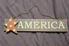 Red Blue Americana Patriotic Flag Star AMERICA Wood Word Hanging Sign