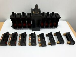 8 x ENGLISH ELECTRIC RED SPOT HRC 30Amp Fuse Carrier & Fuse Base Busbar Bank