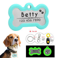 Personalized Pet ID Tag Rubber Silencer Bone/Round Disc Engrave Glow in The Dark