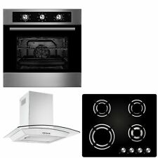 Cookology 60cm Built-in Electric Fan Oven, Gas-on-Glass Hob & Curved Hood Pack