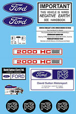 Ford RS 2000 Under Bonnet Decal Set MK1 & MK2 Escort RS2000 AVO DAVID SUTTON