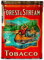 FOREST & STREAM TOBACCO MEN IN CANOE HEAVY DUTY USA MADE METAL ADVERTISING SIGN