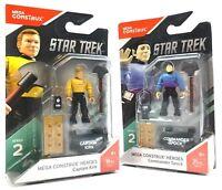 Mega Construx Heroes Commander Spock Captian Kirk Star Trek Series 2 NIB