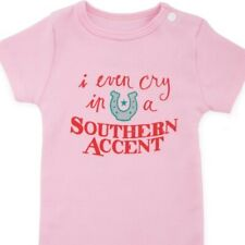 """Bee Funny Baby Body Suit for Girls Pink """"I Even Cry in A Southern Accent"""""""