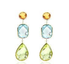 14K Yellow Gold Gemstone Earrings With Citrine, Blue Topaz And Lemon Topaz