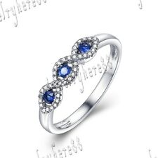 10k White Gold Fine Jewelry Band Sapphires & Natural Diamond Gemstone Ring