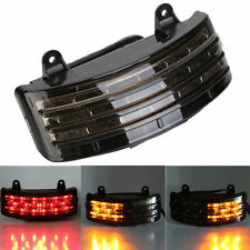 Smoke Tri-Bar Fender LED Integrated Tail Light w/Signal for Harley Davidson FLHX
