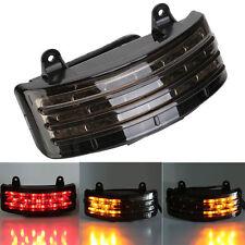 Smoke Tri-Bar Fender LED Integrated Tail Light w/Signal for Harley Davidson FLHX