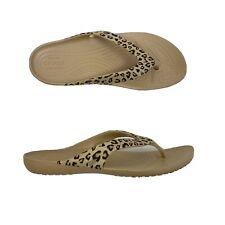 Crocs Womens Flip Flops Sandals Kadee ll Size 8 Leopard Print Gold Tan 206398