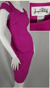 Joseph Ribkoff Size UK 12/US 10 Dress Hot Pink Pencil Wiggle Cold Shoulder