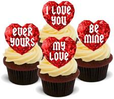 RUBY HEART JEWEL LOVE MIX - 12 Edible Stand Up Premium Wafer Cake Toppers
