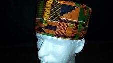 Fez ,Kufi  ,mens hat Kente pattern on cotton blend new large  size 23in. 7 3/8