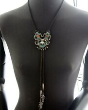 Vintage ZUNI STERLING Inlaid Stone Bolo Tie Signed
