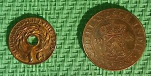 Netherlands East Indies - 1 and  2 1/2 Cent 1945. - Two diff. coins - See photos