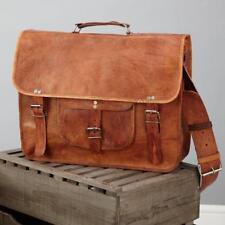 Men's Vintage Brown Leather Half Flap Messenger Laptop Satchel Shoulder Bag