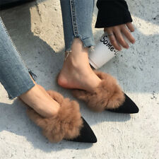 Winter Warm Women Real Rabbit Fur Suede Slipper Mules Flat Shoes Casual Sandals